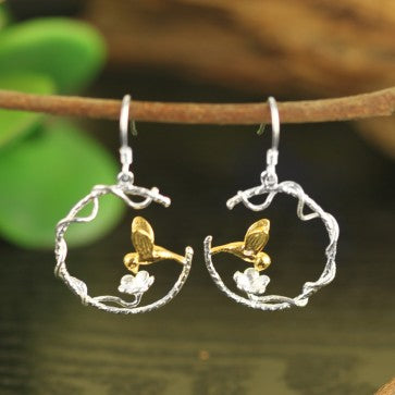 925 Sterling Silver Flower Yellow Bird  Earrings