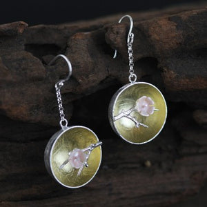 925 Sterling Silver Plum Hollow Earrings