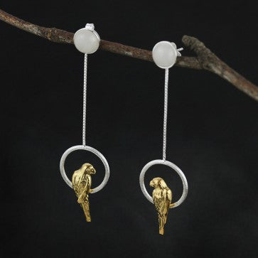 925 Sterling Silver White Jade Yellow Bird Earrings