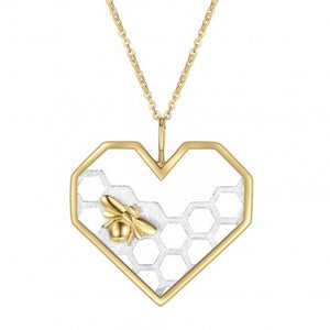 925 Sterling Silver Honey Bee Pendant Necklace