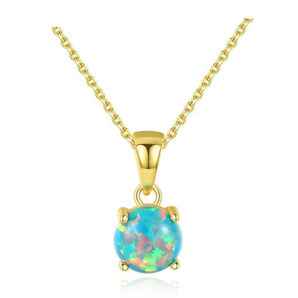 Elegant Opal 925 Sterling Silver Necklace