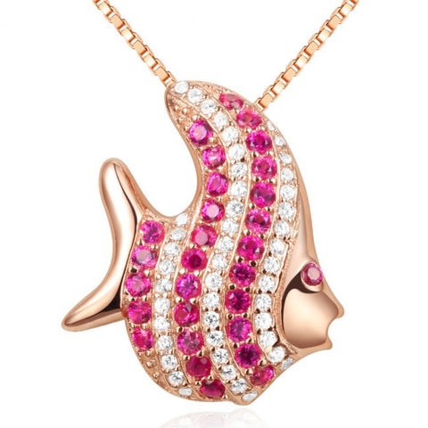 Tropical Fish Pink CZ Solid 925 Sterling Silver Pendant