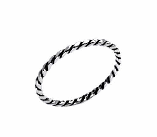 OXIDIZED SILVER TWIST RING