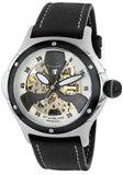 MEN'S ALPINE AUTO BLACK GEN. LEATHER CONTRAST STITCH SILVER -TONE DIAL
