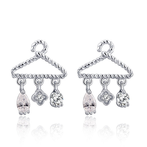 925 Silver Clothes-Rack Stud Earrings