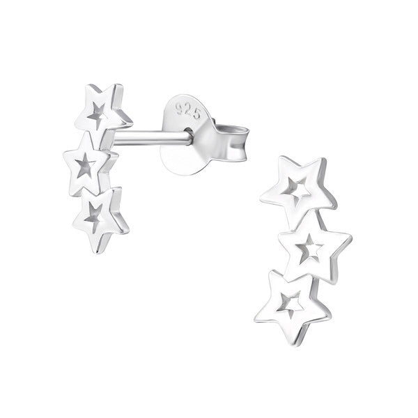Silver Triple Star Ear Studs