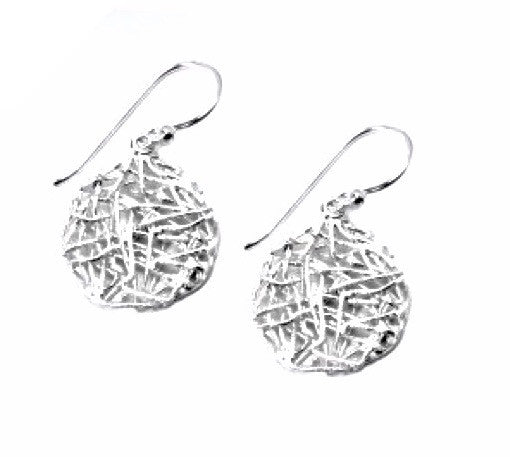 STERLING SILVER TEXTURED CIRCLE DANGLE EARRINGS