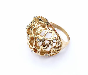 Gold Steel Sheel and Flowers Woman Ring