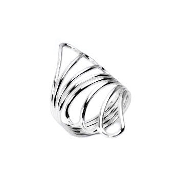 BELLE OF THE BALL STERLING SILVER FEATHERED OPENWORK RING