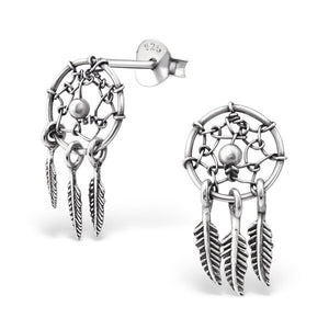Silver Dream Catcher Ear Studs