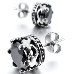 Stainless Steel Stud Earrings CZ Silver Tone Black Crown