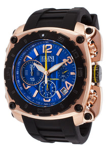 THE GENERAL CHRONO BLACK SILICONE BLUE DIAL ROSE-TONE CASE