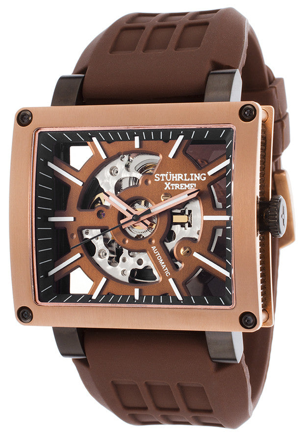 MEN'S SYMPHONY WILD AXIS AUTO BROWN SILICONE AND SKELETONIZED DIAL