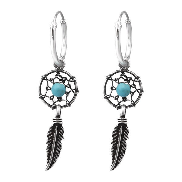 Silver Ear Hoops With Dream catcher