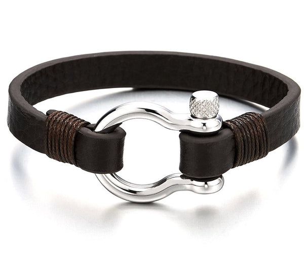 Mens Stainless Steel Anchor Wrap Bracelet with Brown Leather, Nautical Sailor Wristband