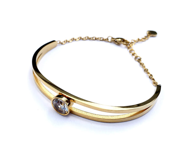 Diamond Cut Crystal Bangle