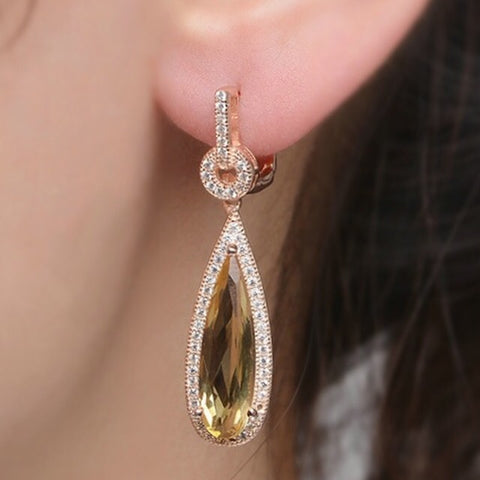 Natural Citrine 925 Silver Rose Gold CZ Earrings