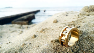 Gold Steel and Marine Cable Unisex Ring