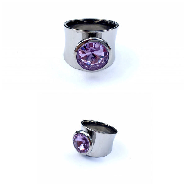 Steel Gypsy Purple Crystal Woman Ring