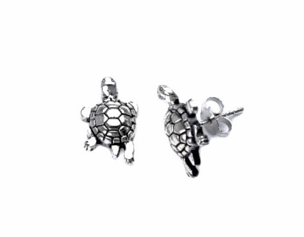 STERLING SILVER OXIDIZED TURTLE STUD EARRINGS