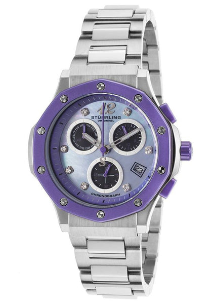 WOMAN'S MONACO LADY NEMO CHROMO SS MOTHER OF PEARL DIAL PURPLE ACCENT
