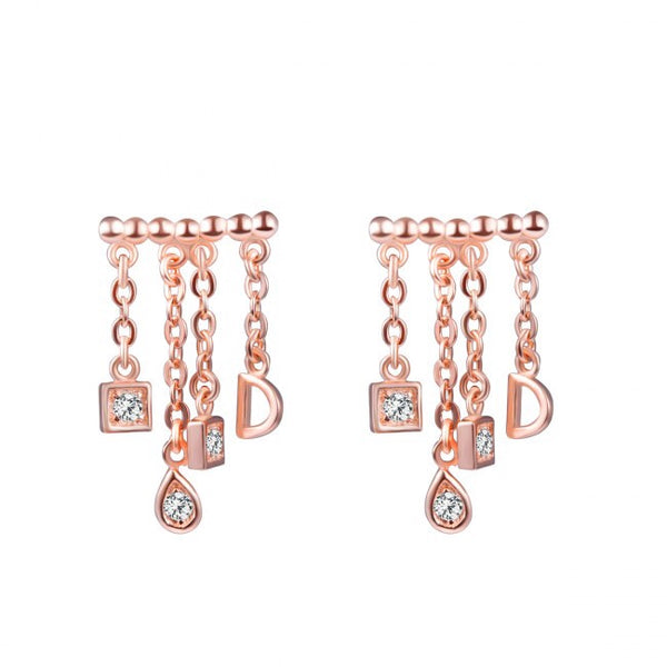 18K Rose gold 925 Dangle Earrings