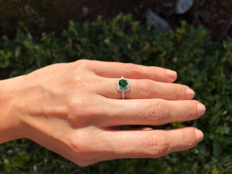 925 Sterling Silver 1 1/3 Carat Emerald And 1/4 Carat Diamond Halo Ring