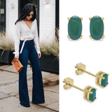Solid Gold 0.54 Carat Emerald Earrings