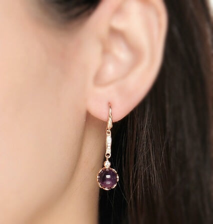 Round Genuine Amethyst 925 Silver Rose Gold Earrings