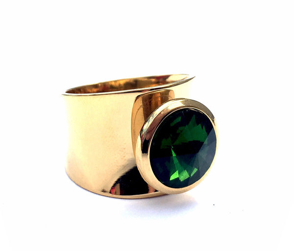Gold Steel Dark Green Woman Gypsy Ring