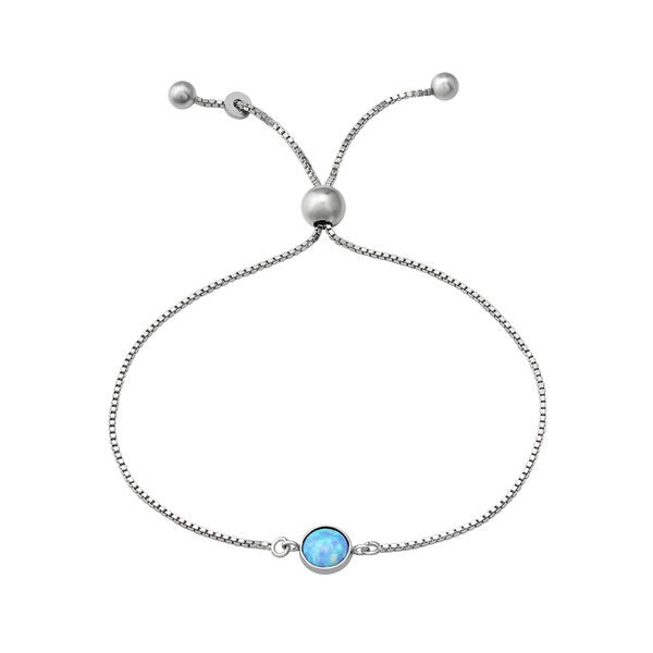 Silver Round Bracelet with Opal