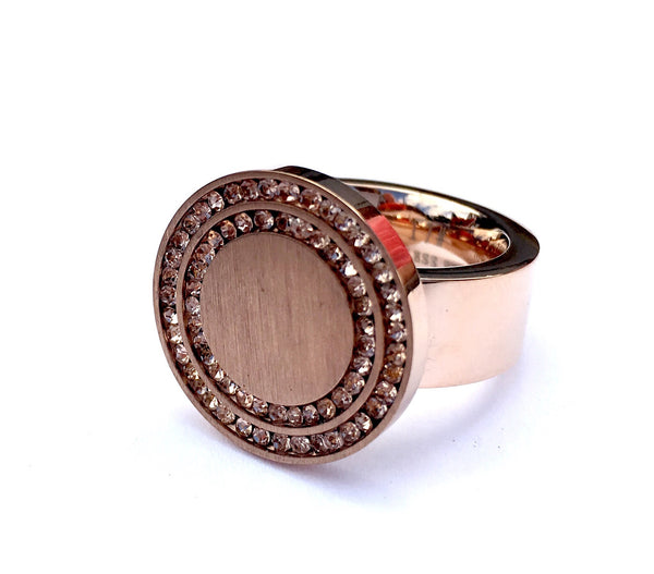 Rose Gold and Crystal Woman Ring