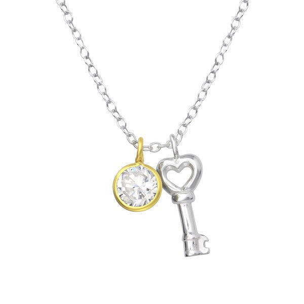 925 Silver Key Necklace with Zirconia