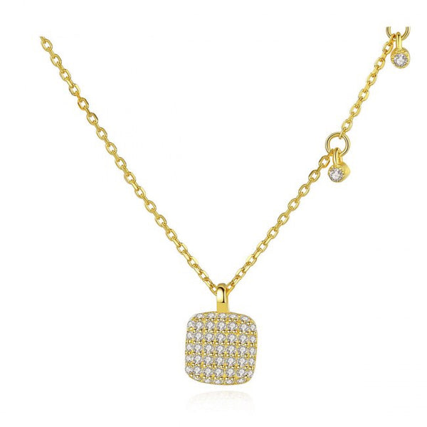 Classic Square CZ 925 Sterling Silver Necklace