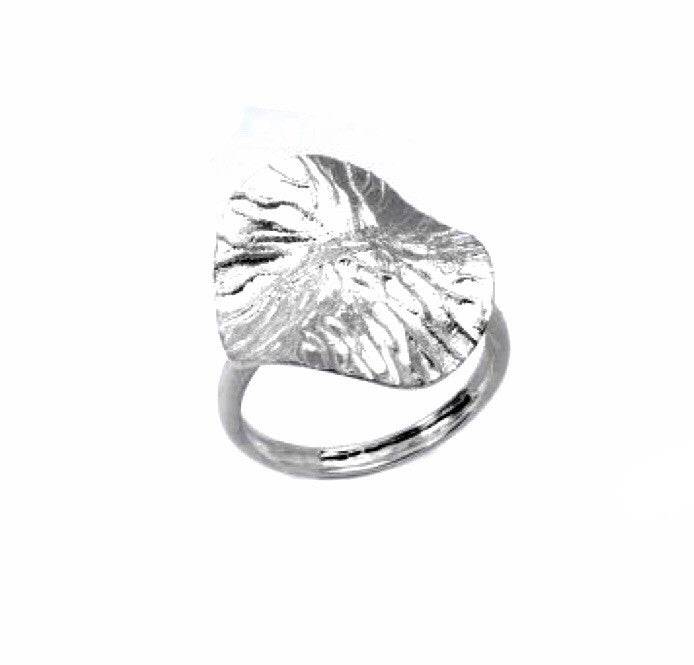 STERLING SILVER TEXTURED WAVY LEAF-INSPIRED RING