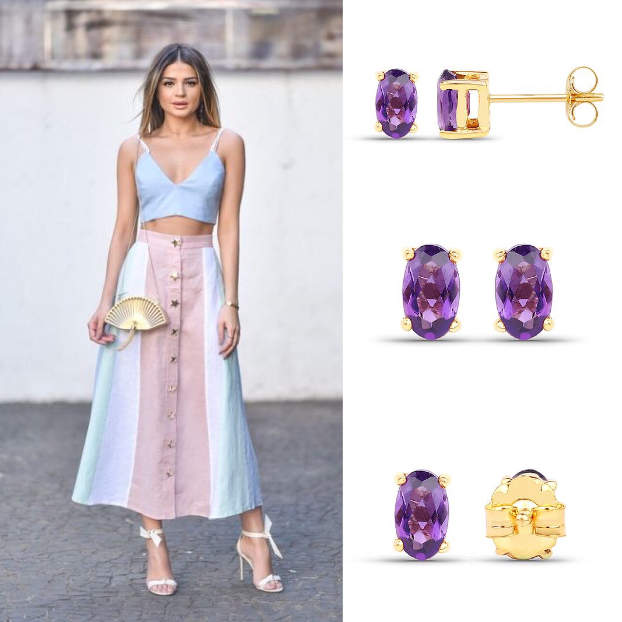 Solid Gold 0.42 Carat  Amethyst Earrings