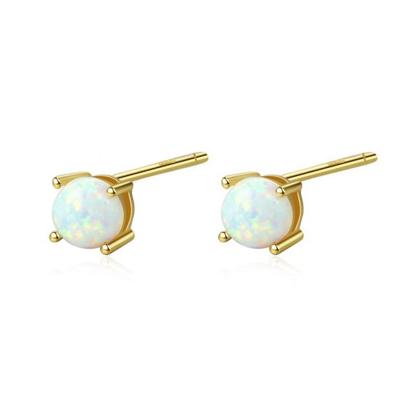 Natural Opal 925 Silver Stud