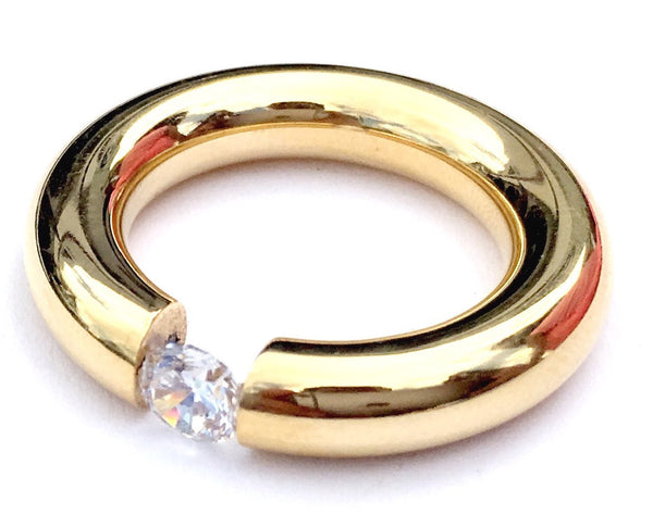 Gold Steel Floating Crystal Woman Ring