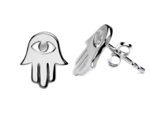 HAMSA HAND EYE STERLING SILVER STUD EARRINGS