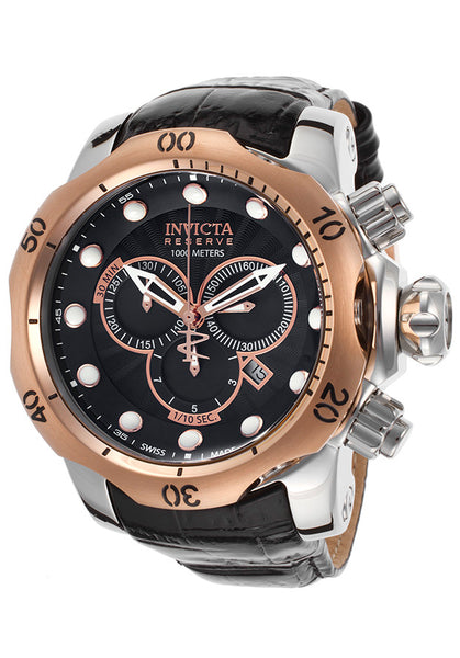 MEN'S VENOM RESERVE CHRONO BLACK GENUINE LEATHER AND DIAL ROSE-TONE BEZEL