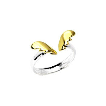 ANGEL'S WINGS DUEL TINE STERLING SILVER RING