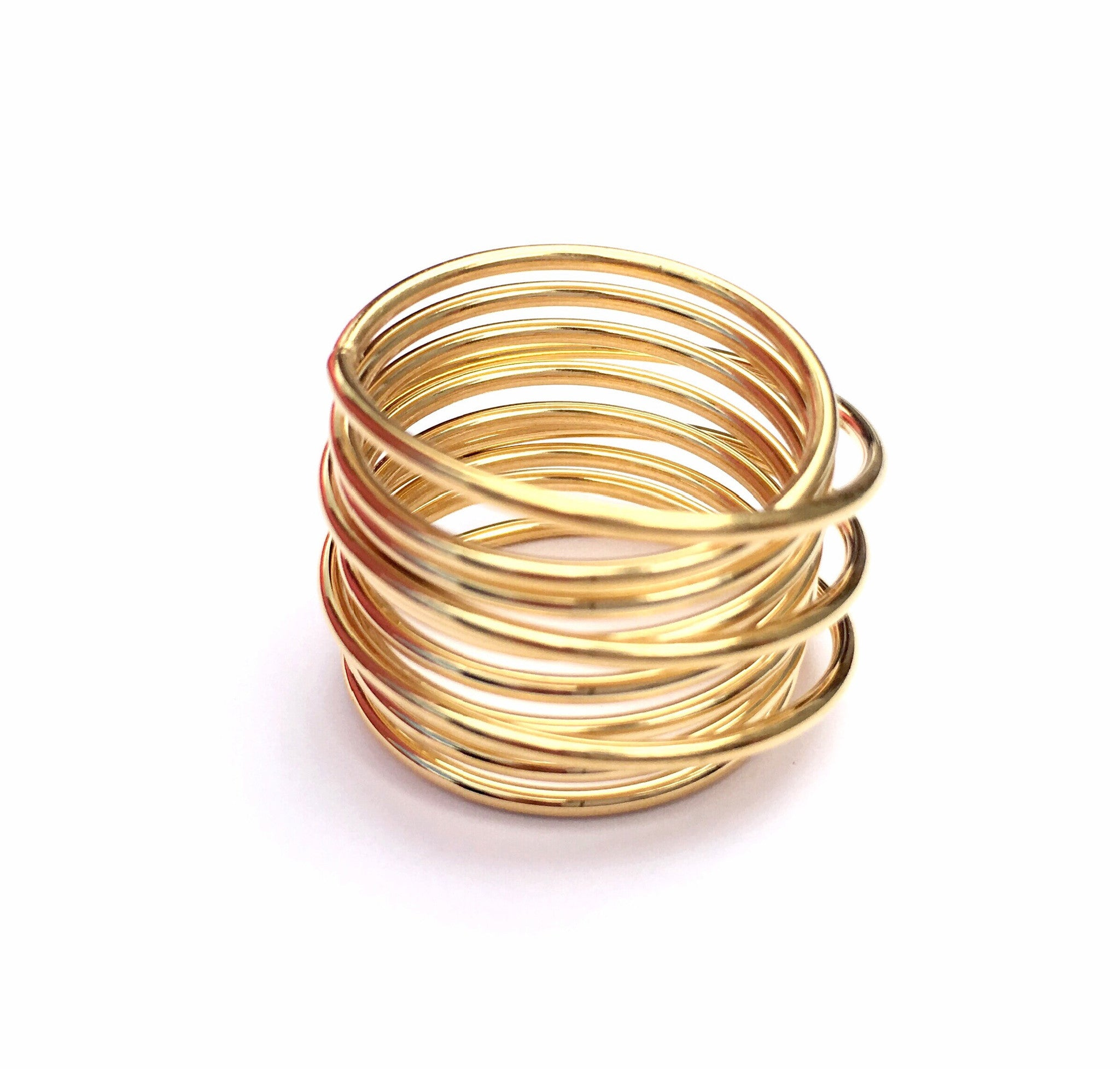 Gold Steel Cable Woman Ring