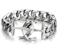 Stainless Steel Mens Marine Anchor Chain Bracelet Polished