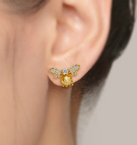 Bees Oval Natural Citrine 925 Silver Yellow Gold Earrings