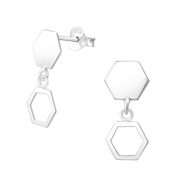 Silver Hexagon Ear Studs
