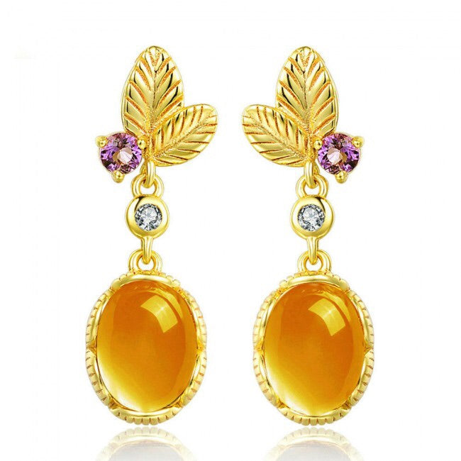 Leaves Oval Natural Citrine 925 Silver Gold Earrings