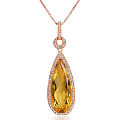 Natural Citrine 925 Silver Rose Gold CZ Pendant