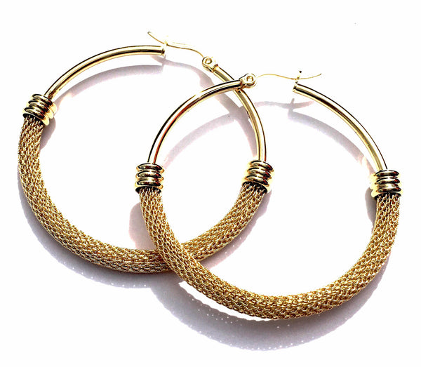 Mesh Hoops Gold Tone Stainless Steel