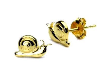 18 K FLASH GOLD PLATING POLISHED SILVER SNAILS STUDS EARRING
