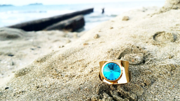 Gold Steel Blue Crystal Woman Ring